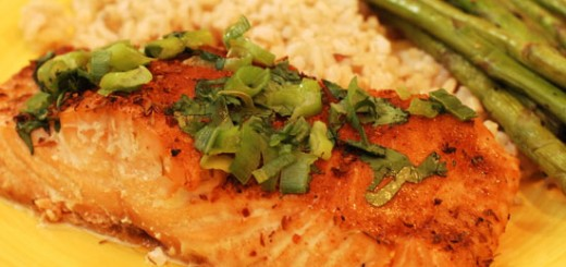 070829 - Atlanta, GA -- Oven roasted Salmon with green onions and cilantro for five.0913. (CHRIS HUNT/ AJC staff) styling by Jeanne Besser